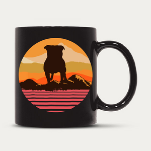 American Bully With Sun Mountain Vintage Retro
