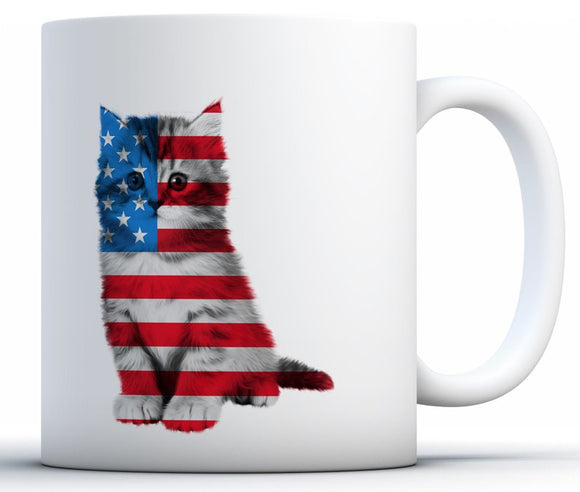 American Cat Coffee Mug- Proud American Party Mug
