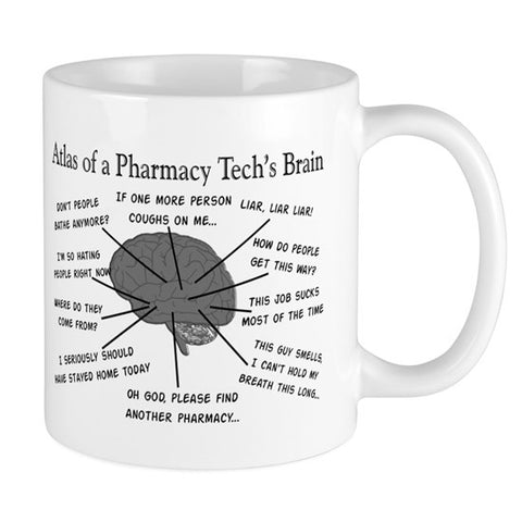 Atlas of a pharmacy techs brain coffee mug
