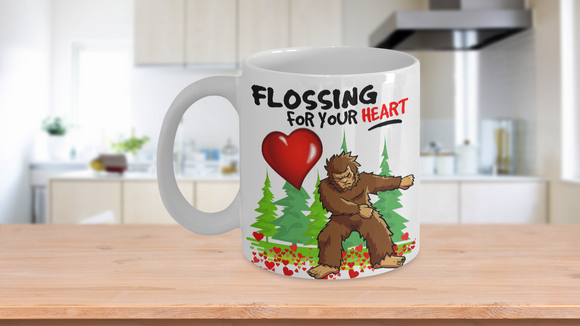 Bigfoot Flossing For You Heart Funny Valentine I Love You Coffee Mug Gift - Eureka Mugs