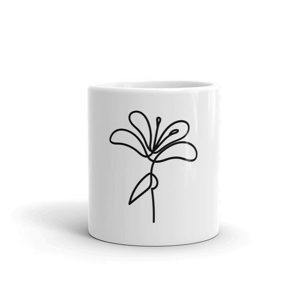 Black And White Floral Travel Mug  Flower Coffee Mug