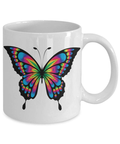 Butterfly Coffee Mug, Butterfly Mug, Mug with Butterfly, Butterfly on Mug, Colorful Butterfly Mug, Ceramic Travel Mug. Makes a Great Gift