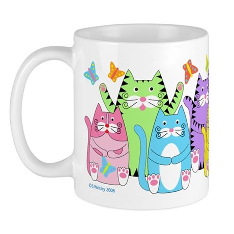 COLORFUL KITTY CATS & BUTTERFLIES MUG