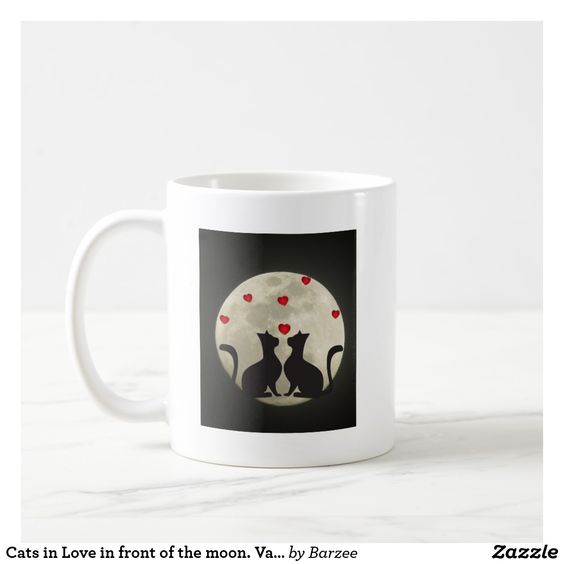 Cats in Love in front of the moon. Valentine Heart Coffee Mug