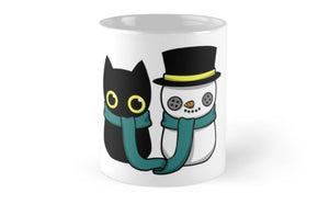 Christmas Cat and Snowman Coffee Mugs - Eureka Mugs