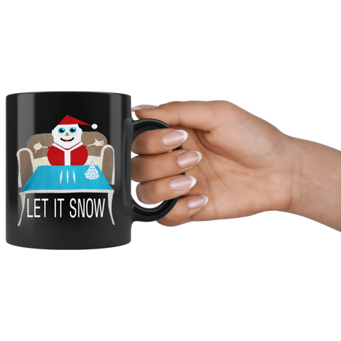 Cocaine Santa coffee Mug Drug Ugly Christmas Let It Snow Parody Coffee Mug