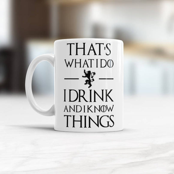 Coffee Mug Gift for Men, I drink and I know things mug, Valentines day Gift for Boyfriend