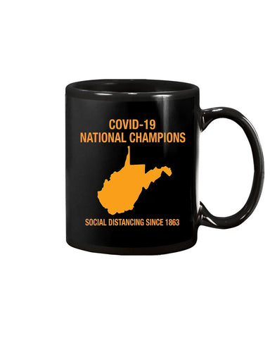 Covid-19 National Champions, Social Distancing West Virginia Coffee Mug