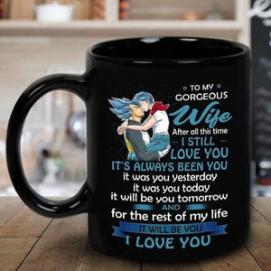 Dragon Ball Vegeta To My Gorgeous Wife Christmas Gift Black 11 oz Coffee Tea Mug - Eureka Mugs