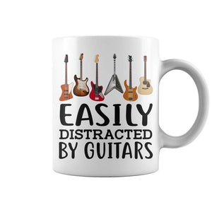 EASILY DISTRACTED BY GUITARS Coffee Cup