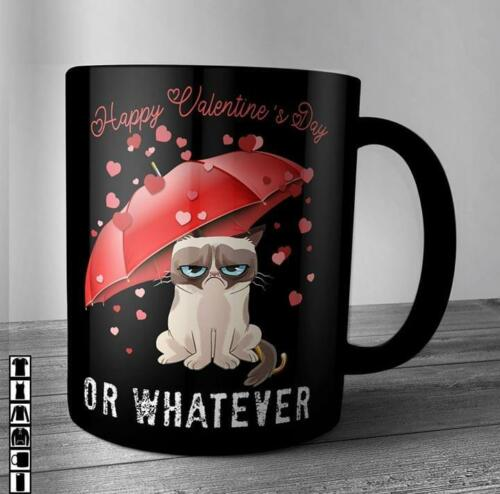 Grumpy Cat Happy Valentine's Day Or Whatever Umbrella Mug Black Ceramic 11oz Cup