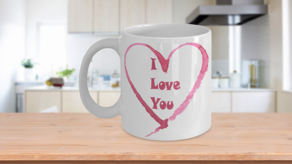 I LOVE YOU Heart Valentine's Day 11oz Coffee Lover Mug - Eureka Mugs