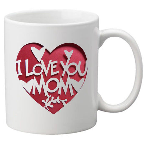 I Love You Mom With White Hearts in a Red Heart