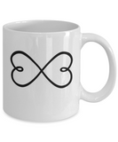 Infinity Hearts Coffee Tea Mug Valentine's Mother's Day Loved Ones Gift - Eureka Mugs