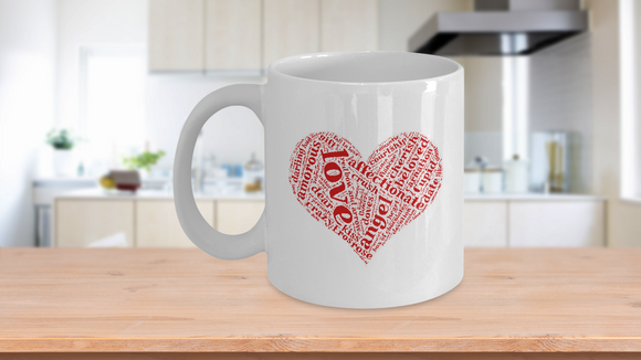 Love heart wordart red gift mug Valentine gift - Eureka Mugs