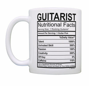 Music Lovers Gifts Guitarist Nutritional Facts Mug