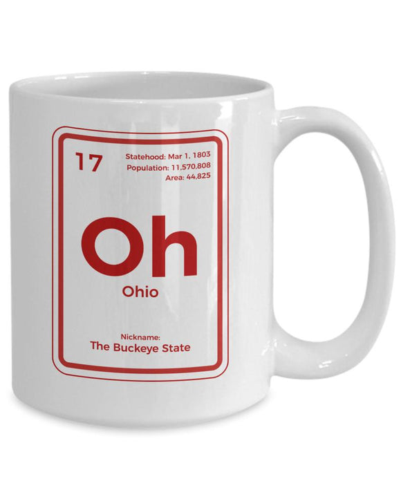 Ohio Coffee Mug Periodic Table Buckeye State Gift
