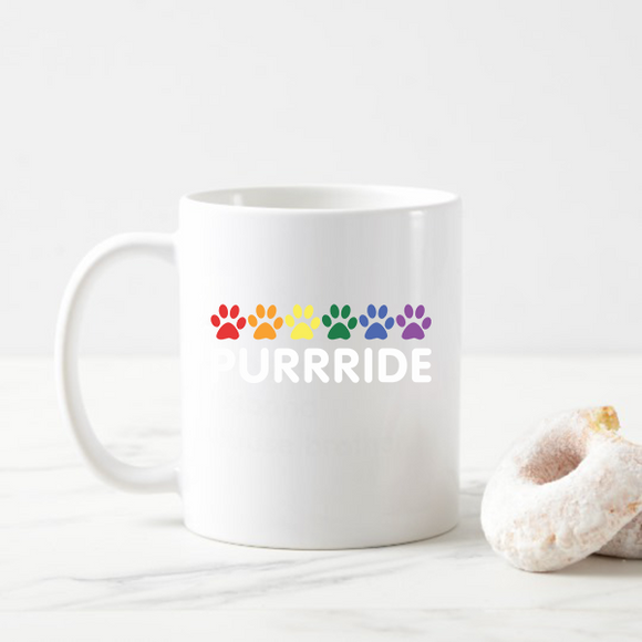 Purride Cat Paw Gay Pride Cat Lover Funny Rainbow Flag Coffee Mug