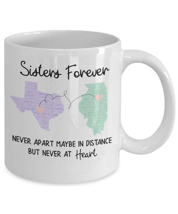 Sister Long Distance Mug, Sister Moving Mug, State To State Mug