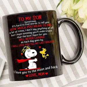 Snoopy Mom To My Son Love You To The Moon & Back Mug Black Ceramic 11oz Cup