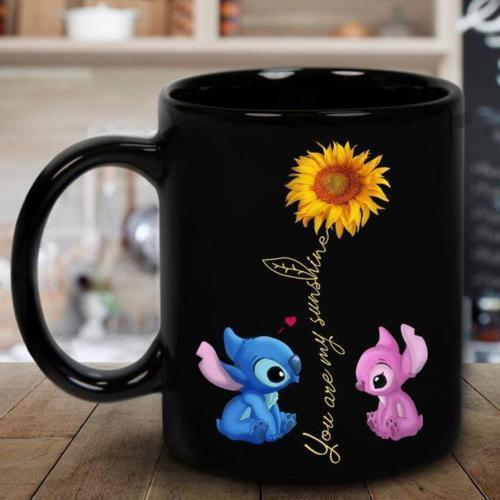 Stitch and Pink Stitch You are My Sunshine Sunflower Mug