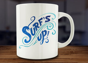 Surfer Gift, Surf's Up Coffee Mug Beach Surfing - Funny Coffee Mug - 11oz Cup - Eureka Mugs