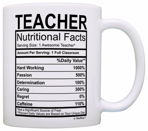 Teacher Nutritional Facts Mug