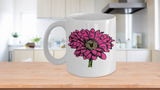 Valentines Day Gift - Hot Pink Zinnia Flower Mug - Floral Tea Cup - Eureka Mugs