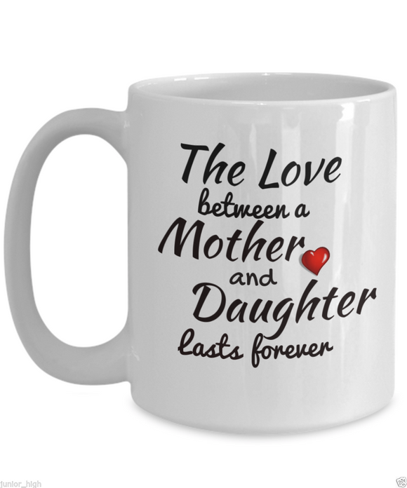 Valentines Day Mugs - Mom's Cute and Sweet Valentine Quote on Black Ceramic Muga