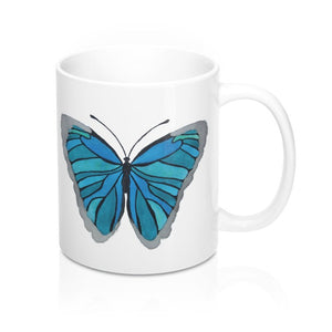 Watercolor Turquoise Butterfly Mug 11Oz