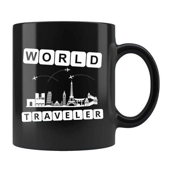 World Traveler Mug, World Traveler Gift, Traveler Coffee Mug