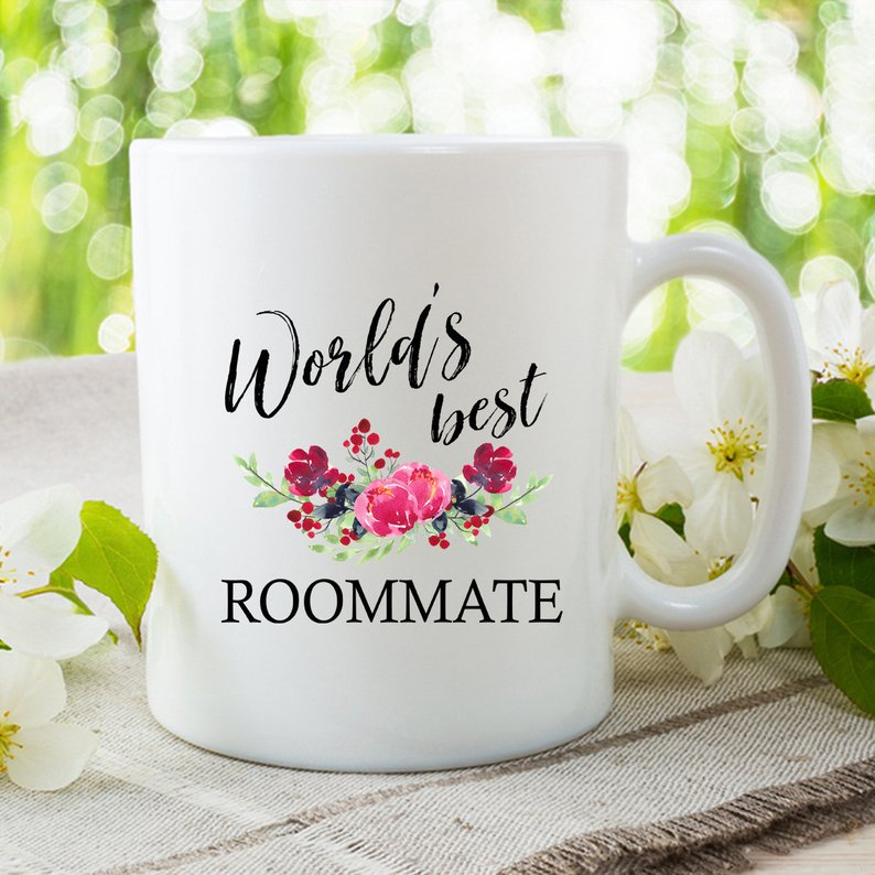 Worlds Best Roommate Coffee Mug Gift Floral