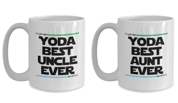 Yoda Best Uncle and Best Aunt Mug, SET OF TWO Nerd Star Wars Mug
