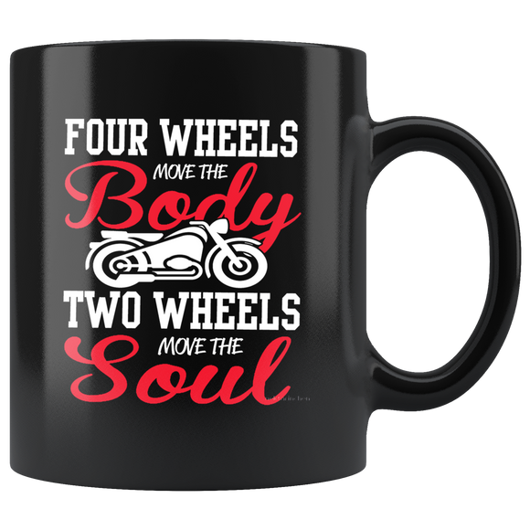 Four wheels move the body mug