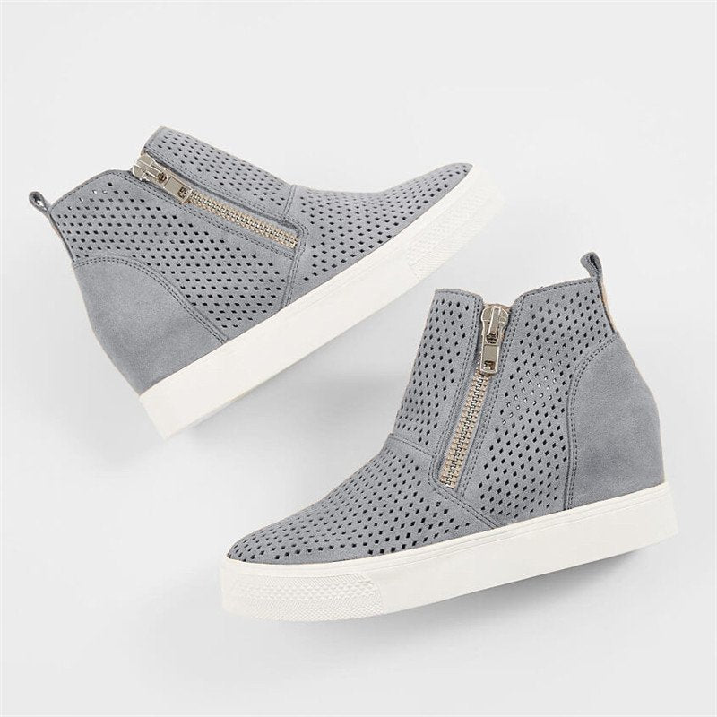 917161d3f77 Breathable Hollow-out Wedges Sneakers Zipper Casual Wedge Heel Boots ...