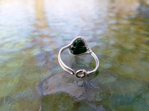Malachite tree of life ring
