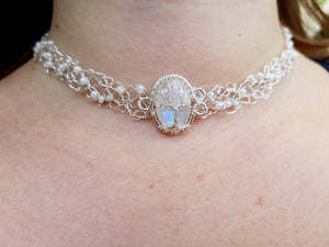 Moonstone necklace with glass beads