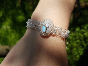 Moonstone bracelet with glass beads