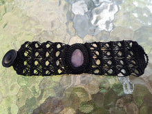 Load image into Gallery viewer, Crochet bracelet with amethyst gemstone