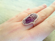 Load image into Gallery viewer, Amethyst tree of life ring