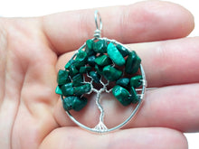Load image into Gallery viewer, Malachite tree of life pendant