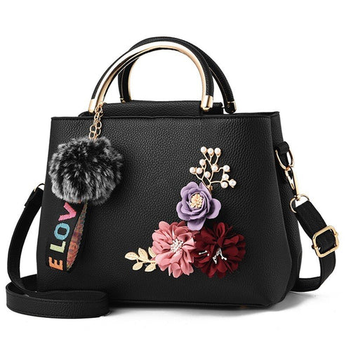 Flowers Tote Leather Clutch Bag