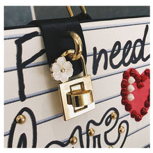 Load image into Gallery viewer, Letter Diamond Pearl Rivet Handbag