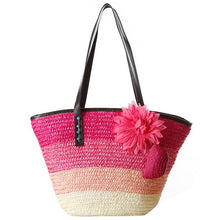 Load image into Gallery viewer, Knitted Straw Summer Flower Bohemian Bag