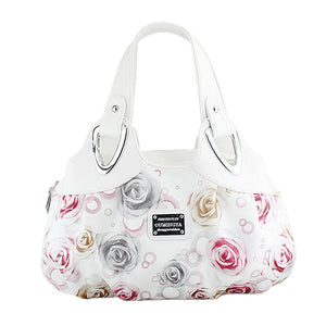 Red Rose White Hand Strap Tote Handbag