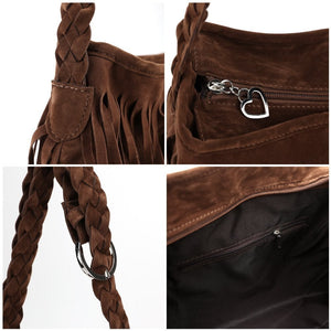 Fringe Tassel Brown Handbag