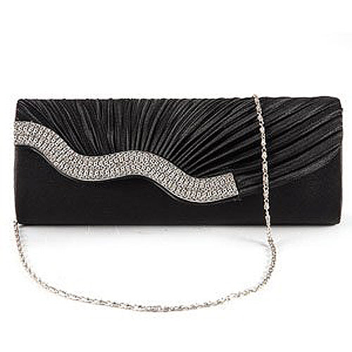 Diamond Stone Appearance Black Handbag