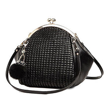 Load image into Gallery viewer, Seashell Leather Black Handbag