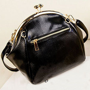 Seashell Leather Black Handbag