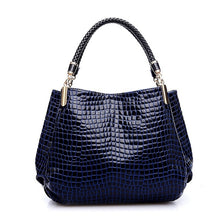 Load image into Gallery viewer, Crocodile Pattern Black Leather Bag